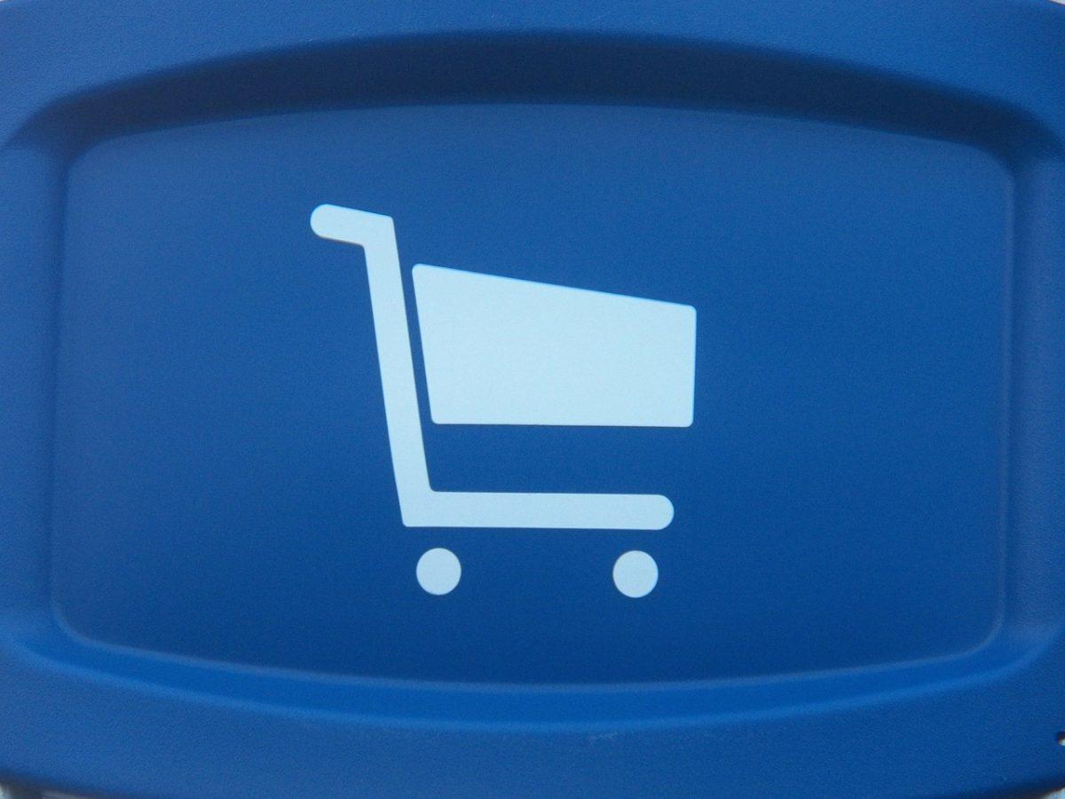 магазинерска количка в син цвят